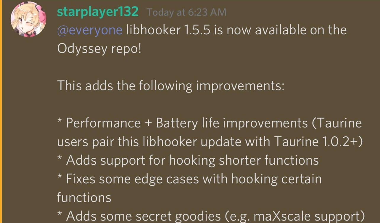 Libhooker has been updated to v1.5.5 with many other improvements.