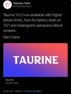 Odyssey team has updated Taurine Jailbreak for iOS version 1.0.2.