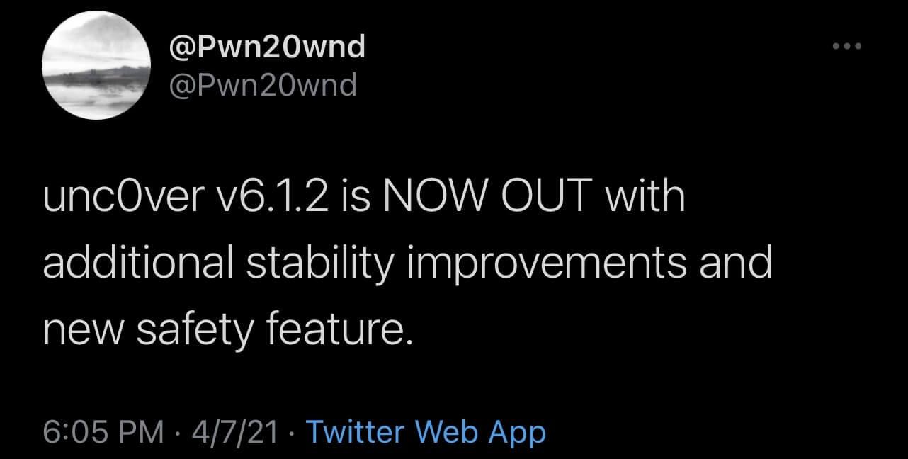 Unc0ver jailbreak update v6.1.2 - latest release